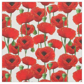Tissu Motif floral de pavots rouges