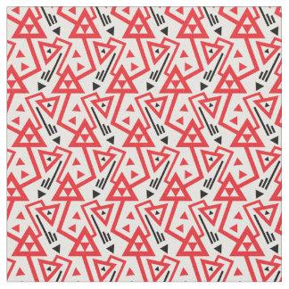 Tissu Motif géométrique rouge d'avant-garde et noir