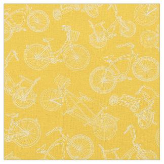Tissu Motif jaune vintage de bicyclette
