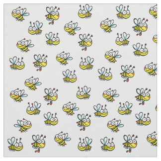 Tissu motif mignon d'abeilles de bande dessinée de