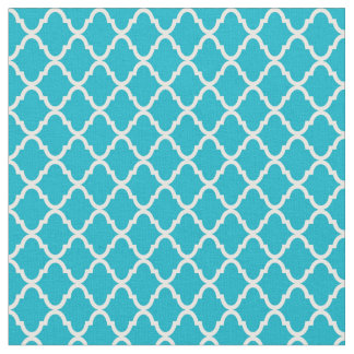 Tissu Motif moderne de Tuquoise Quatrefoil de monogramme