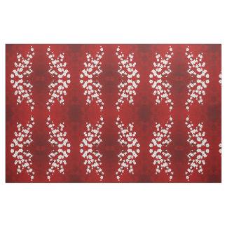Tissu Motif noir et blanc rouge de fleurs de cerisier