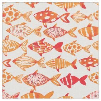 Tissu Motif orange lumineux 2 de poissons d'aquarelle