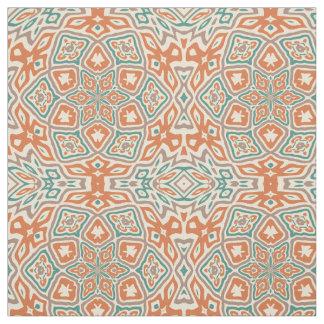 Tissu Motif orange turquoise de kaléidoscope de Taupe de