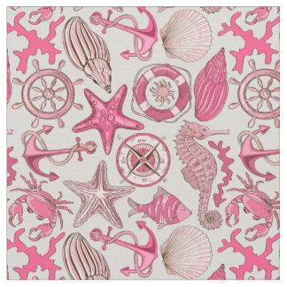 Tissu Motif rose de mer