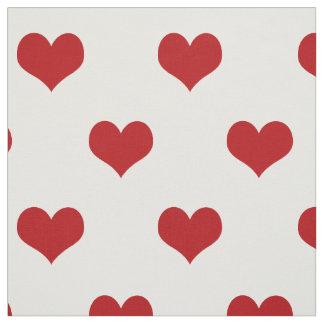 Tissu Motif rouge de coeurs sur le blanc
