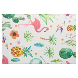 Tissu Motif sans couture tropical de flamants roses