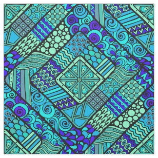 Tissu Motif tribal abstrait vert-bleu de Boho