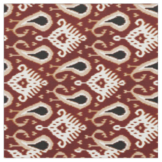 Tissu Motif tribal rouge foncé de Brown Ikat de Taupe