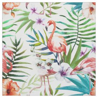 Tissu Motif tropical de jardin de nature de flamant