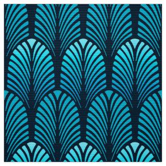 Tissu Motif, turquoise et marine de plume d'art déco
