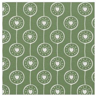Tissu Motif vert et blanc élégant de coeurs de cercle