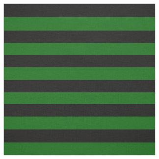 Tissu Noir de minuit, pied vert d'île, rayures