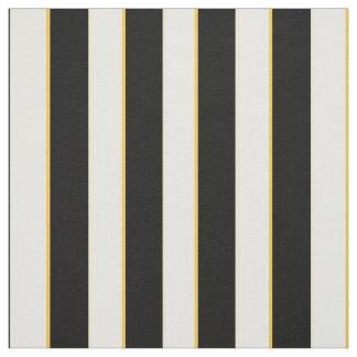 Tissu Noir élégant, blanc et rayures d'or