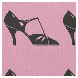 Tissu Noir et rose antiques de motif de chaussure