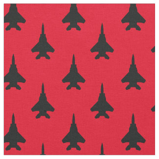 Tissu Noir sur le motif rouge d'avion de chasse d'Eagle