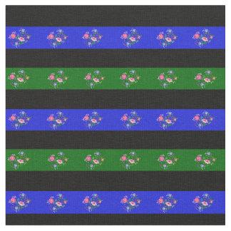 Tissu Noircissez, vert d'île, rayure folklorique de