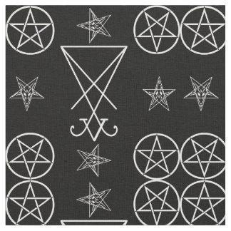 Tissu occulte de Goth de pentagones étoilés de