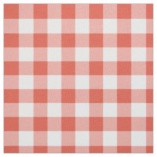 Tissu orange et blanc classique de plaid de