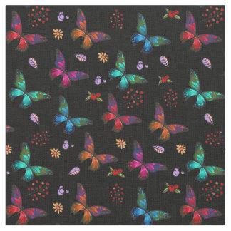 Tissu Papillons colorés élégants sur le noir