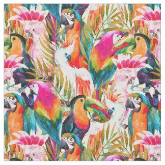 Tissu Perroquets et palmettes