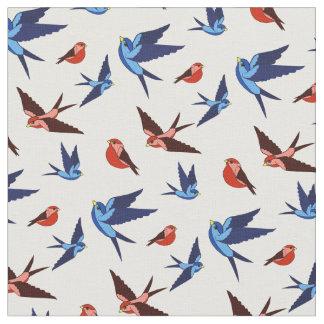 Tissu Petit vol rouge/bleu d'oiseau, séance, gens