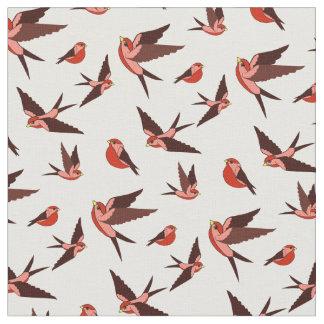 Tissu Petit vol rouge d'oiseau, séance, copie d'art