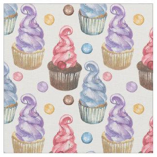 Tissu Petits gâteaux d'aquarelle colorés