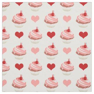 Tissu petits gâteaux et coeurs mignons de fraise