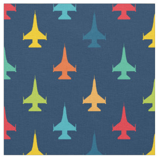 Tissu Primaires colorées de motif d'avion de chasse de