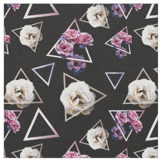 Tissu Quartz rose et floral foncé de tourmaline rose
