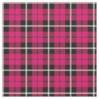 Tissu Rayure blanche d'automne profond/noire rose chaude