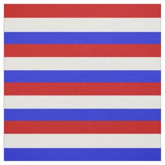 Tissu Rayure rouge, blanche et bleue, rayures, barrées