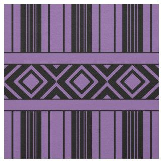 Tissu Rayures et diamants noirs, arrière - plan violet