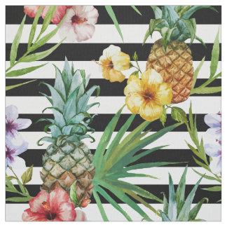 Tissu Rayures tropicales de noir de fleur d'ananas