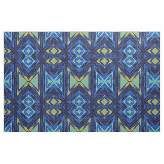 Tissu Regard ethnique d'Aqua de turquoise de jaune
