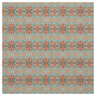 Tissu Regard ethnique éclectique orange de bleu de