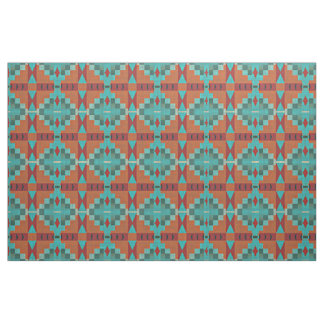 Tissu Regard ethnique vert turquoise de turquoise orange