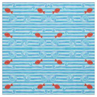 Tissu Ressacs bleus avec les poissons rouges
