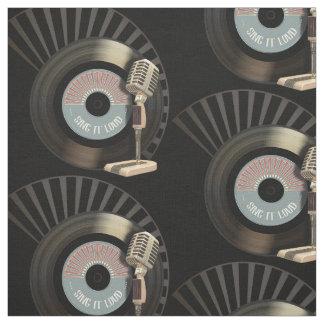 Tissu Rétro disque de microphone et de vinyle 45