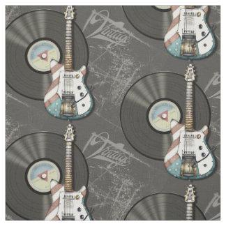 Tissu Rétro guitare et disque vinyle de drapeau