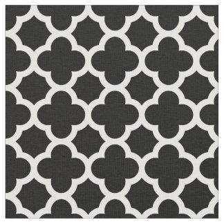 Tissu Rétro motif chic blanc noir mignon de treillis