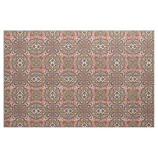 Tissu Rétro motif chic orange de Nouveau Deco de vert