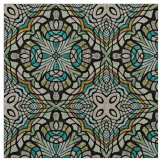 Tissu Rétro motif de Nouveau Deco de turquoise verte en