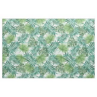 Tissu Rétro motif vert tropical chic de palmettes