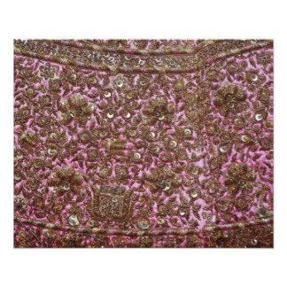 Tissu rose brodé New Delhi Inde Prospectus