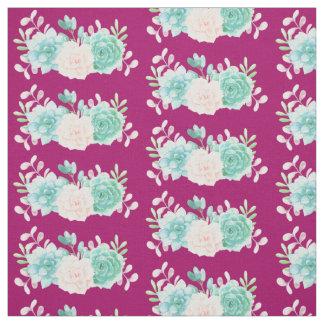 Tissu Rose en pastel et bouquet floral vert sur le dos