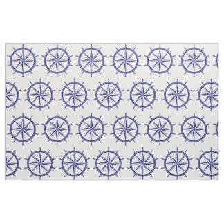 Tissu Roue bleue et blanche nautique de bateau