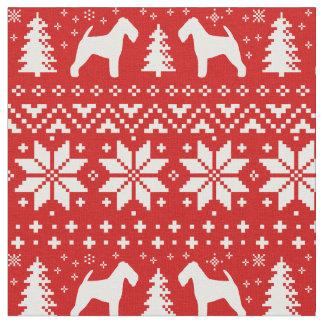 Tissu Rouge de motif de Noël de silhouettes de gallois