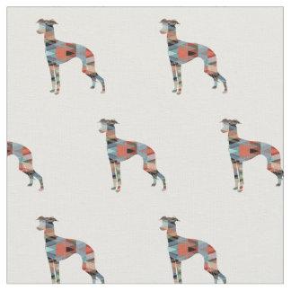 Tissu Silhouette de chien de lévrier italien carrelée -